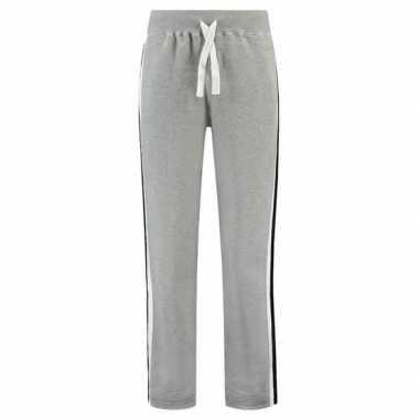 Joggingbroek/sportbroek grijs met streep voor dames