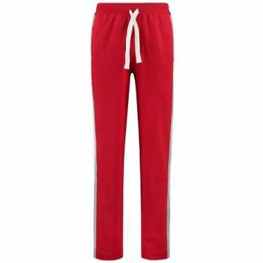 Joggingbroek/sportbroek rood met streep voor dames
