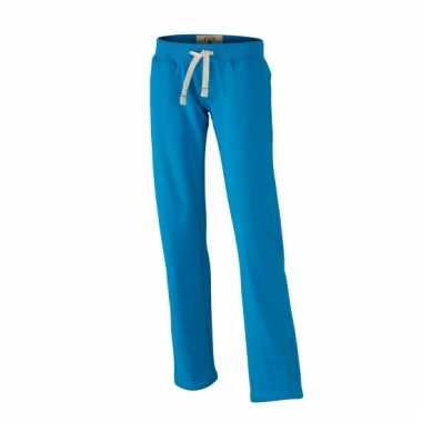 Vintage joggingbroeken turquoise met zakken voor dames